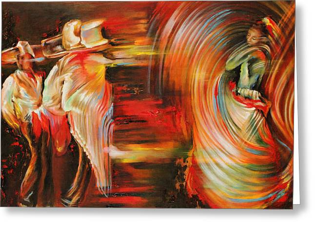 Dancing Greeting Cards - Folklore Greeting Card by Karina Llergo Salto