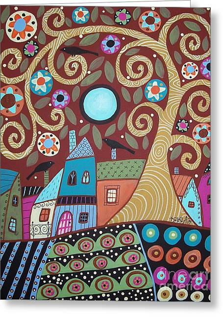 Folk Art Landscapes Greeting Cards - Folksy Village Greeting Card by Karla Gerard