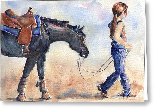 Closely Paintings Greeting Cards - Black Horse and Cowgirl Follow Closely Greeting Card by Maria