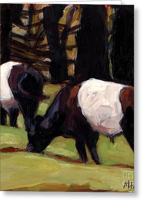 Black And White Cow Greeting Cards - Follow Follow Greeting Card by Molly Poole