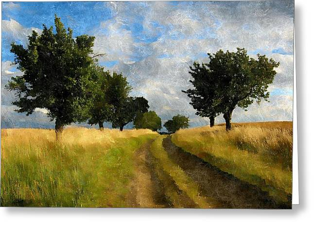 Rural Landscapes Mixed Media Greeting Cards - Follow Greeting Card by Karyn Robinson