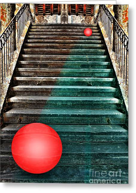 Wooden Stairs Mixed Media Greeting Cards - Follow Me Greeting Card by manhART