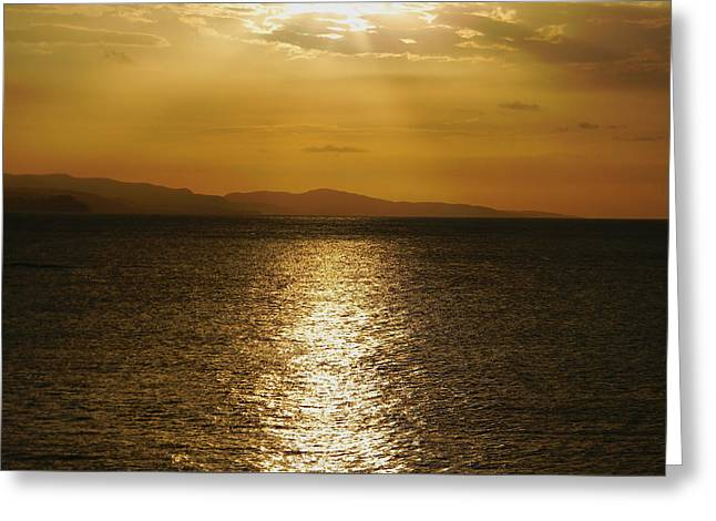 Jamaican Sunset Greeting Cards - Follow The Gold Greeting Card by Debbie Oppermann