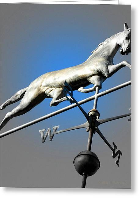Weathervane Greeting Cards - Follow the Horse 6 Greeting Card by Kathy Barney