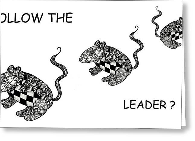 Trio Mixed Media Greeting Cards - Follow the Leader Greeting Card by Jo-Anne Gazo-McKim