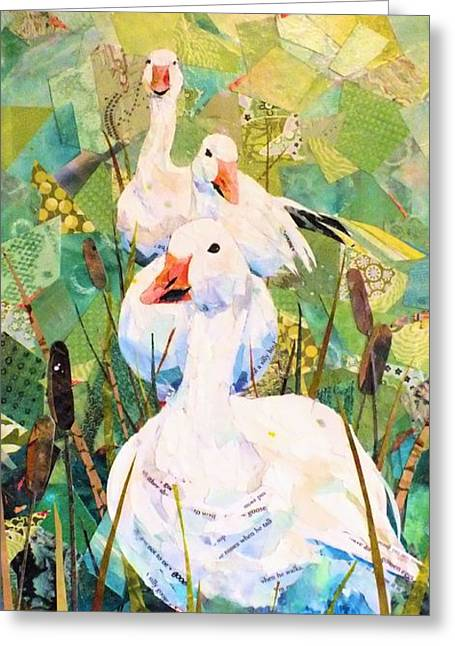 Water Fowl Mixed Media Greeting Cards - Follow the Leader Greeting Card by Patricia Henderson
