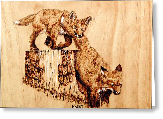 Wilderness Pyrography Greeting Cards - Follow The Leader Greeting Card by Ron Haist