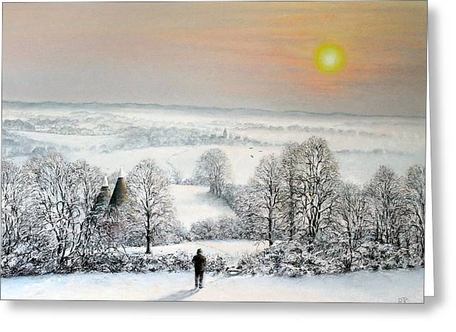 Wintry Greeting Cards - Follow The Path Greeting Card by Rosemary Colyer