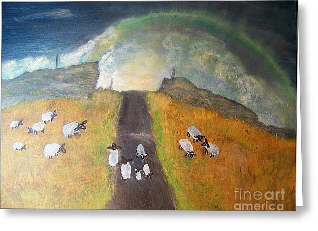 Leading Sheep Greeting Cards - Follow the Rainbow Home Greeting Card by Patti Goltz