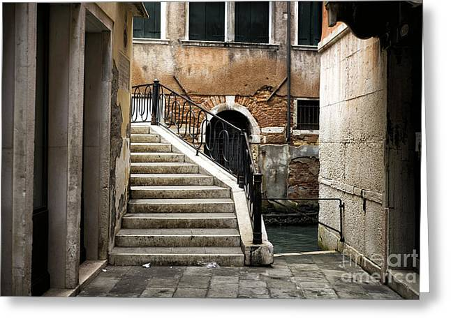 Stepping Stones Greeting Cards - Follow the Stairs in Venice Greeting Card by John Rizzuto