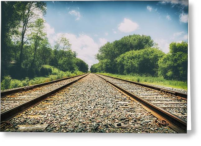 Ground Level Digital Greeting Cards - Follow The Tracks Greeting Card by Bill Tiepelman