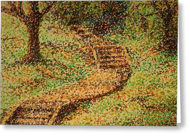 Follow The Yellow Brick Road Greeting Card by Lyndsey Hatchwell