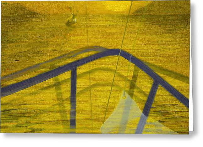 Wind In The Sails Greeting Cards - Follow Us to the Mooring Greeting Card by Doris Rowe