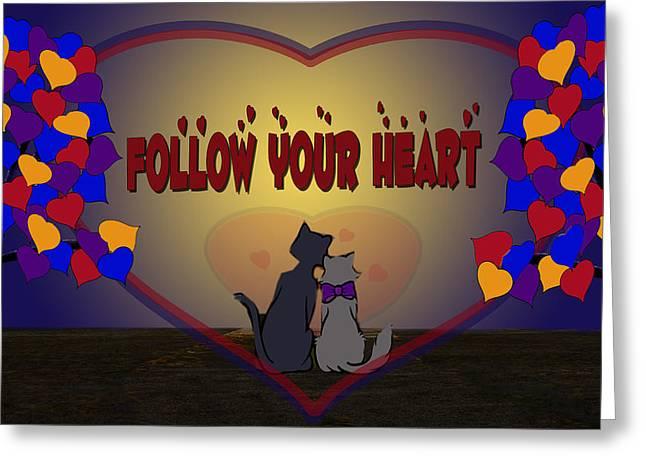 Black Cat Prairie Greeting Cards - Follow Your Heart Greeting Card by Jennifer Schwab