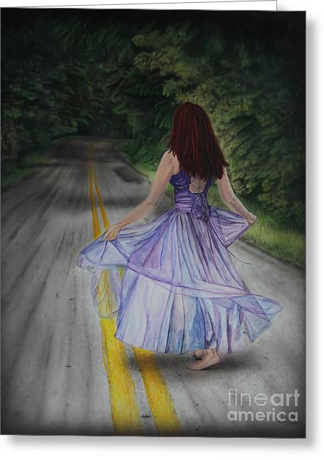 Dancing Girl Greeting Cards - Follow Your Path Greeting Card by Jackie Mestrom