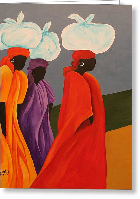 Haitian Paintings Greeting Cards - Following Anna, 2006 Greeting Card by Patricia Brintle