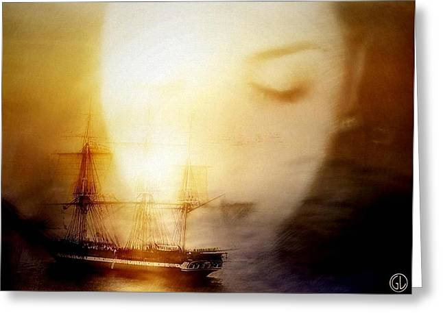 Old Ship Art Greeting Cards - Following him in her mind Greeting Card by Gun Legler