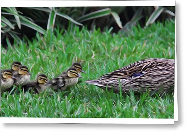 Following Mommy Greeting Card by Lee Dos Santos