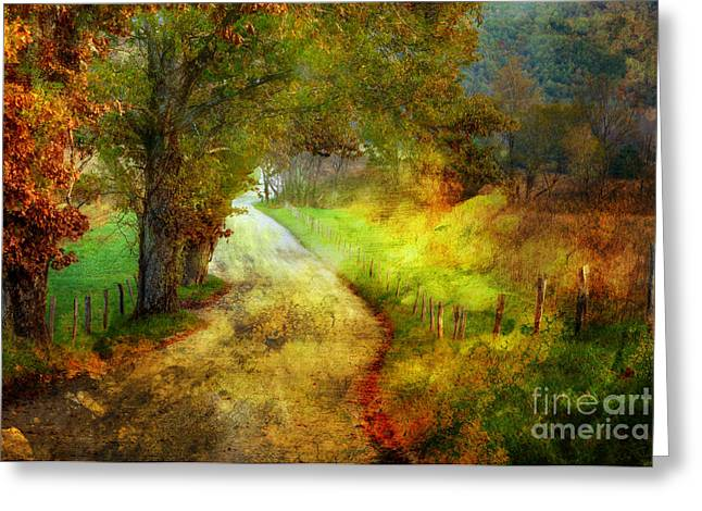 Gravel Road Greeting Cards - Following My Vision Greeting Card by Michael Eingle