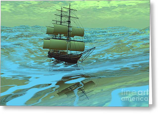 Clippers Digital Art Greeting Cards - Following Sea Greeting Card by Corey Ford