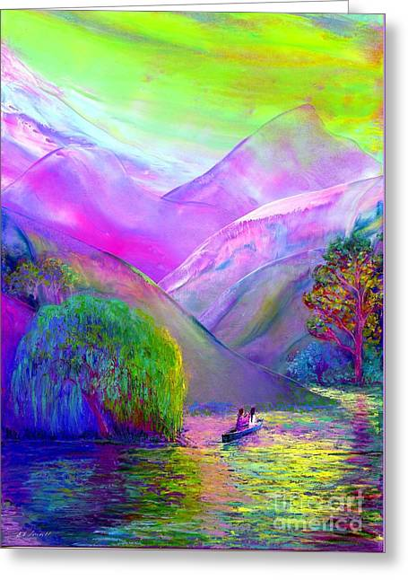 Surreal Fantasy Trees Landscape Greeting Cards - Following the Flow Greeting Card by Jane Small