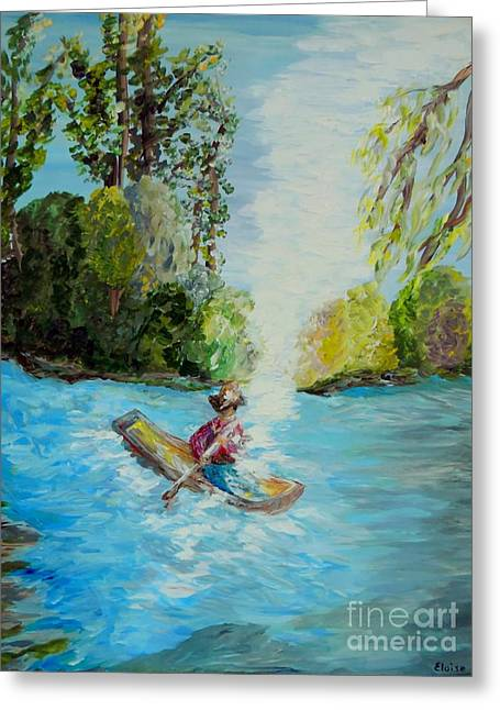 Canoe Greeting Cards - Following the Light Greeting Card by Eloise Schneider