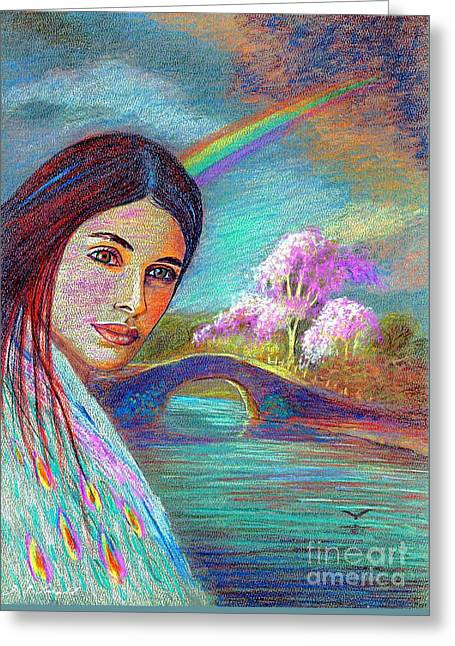 Native American Spirit Portrait Paintings Greeting Cards - Following the Rainbow Greeting Card by Jane Small