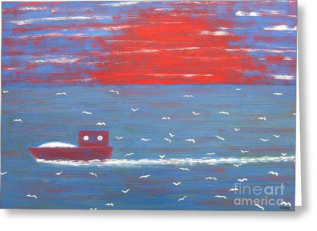 Fishing Art Cards Greeting Cards - Following The Trawler Home Greeting Card by Patrick J Murphy
