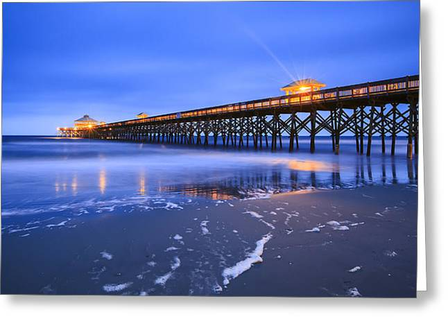 Folly Greeting Cards - Folly Beach Blue Greeting Card by Mike Lang