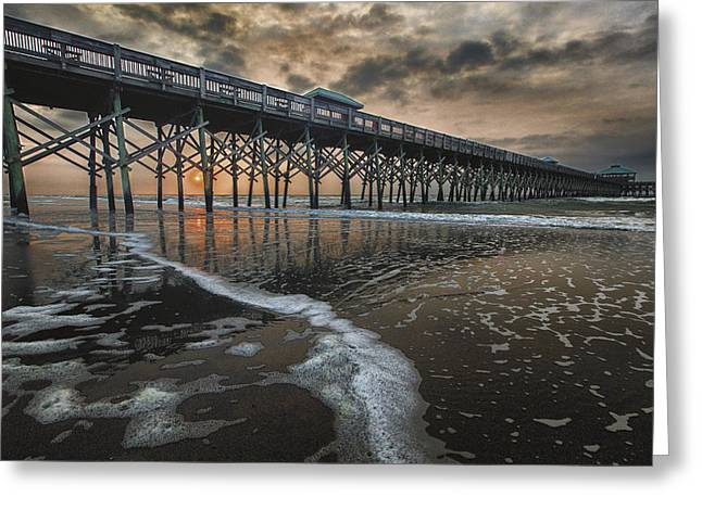 Folly Greeting Cards - Folly Beach Dawn Greeting Card by Mike Lang