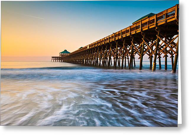 Charleston Greeting Cards - Folly Beach Pier Charleston SC Coast Atlantic Ocean Pastel Sunrise Greeting Card by Dave Allen