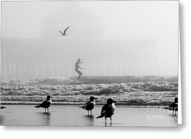 Foggy Day Greeting Cards - Folly Beach Pier Foggy Day Surf Greeting Card by Dustin K Ryan