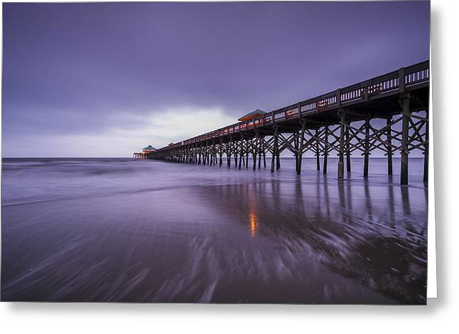 Charleston Greeting Cards - Folly Beach Pier Greeting Card by Joseph Rossbach