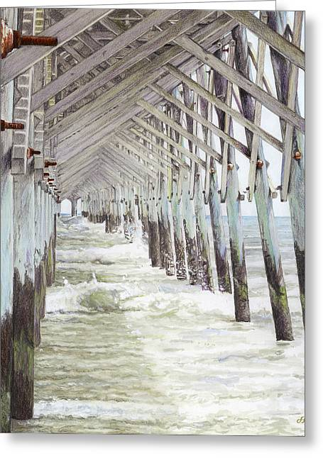 Charleston Drawings Greeting Cards - Folly Beach Pier Greeting Card by Stephen Paul Herchak