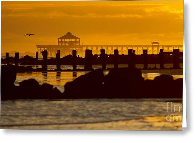 Canon 7d Greeting Cards - Folly Beach Pier Sunset Greeting Card by Dustin K Ryan