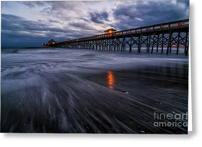 Atlantic Beaches Greeting Cards - Folly Blue Hour Greeting Card by Anthony Heflin