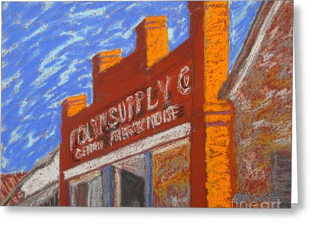Store Fronts Pastels Greeting Cards - Folsom Supply Greeting Card by Katrina West