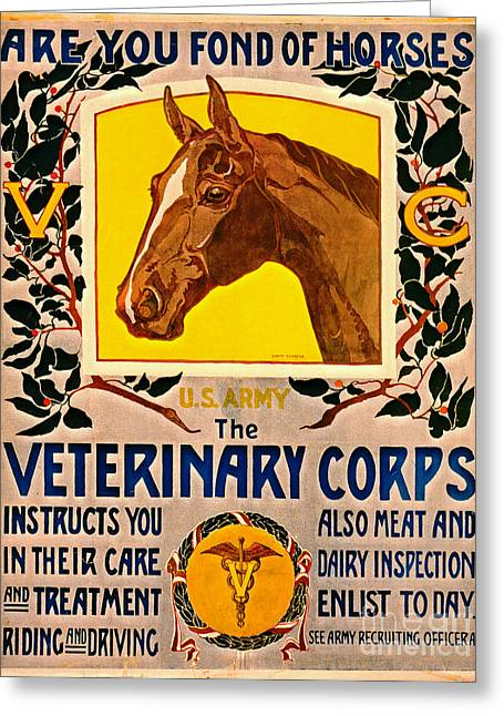Enlistment Greeting Cards - Fond of Horses 1919 Greeting Card by Padre Art