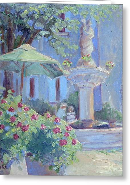 Provence Village Greeting Cards - Font of Provence Greeting Card by Linda  Wissler