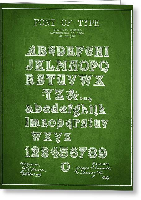 Typeface Greeting Cards - Font of  Type Patent Drawing from 1896 - Green Greeting Card by Aged Pixel