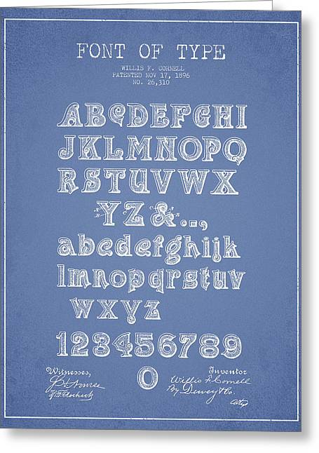 Typeface Greeting Cards - Font of  Type Patent Drawing from 1896 - Light Blue Greeting Card by Aged Pixel