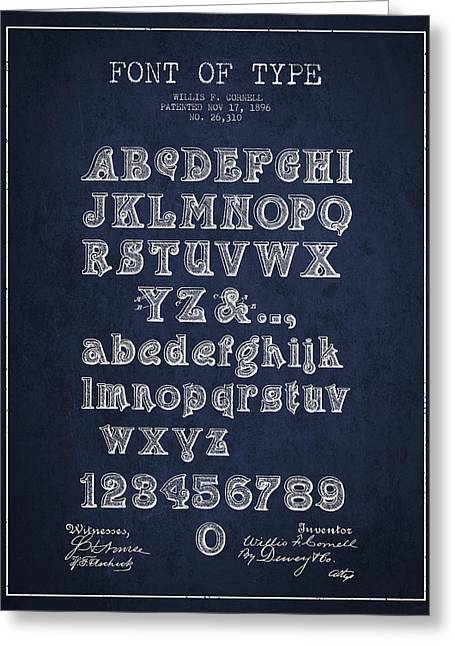 Typeface Greeting Cards - Font of  Type Patent Drawing from 1896 - Navy Blue Greeting Card by Aged Pixel