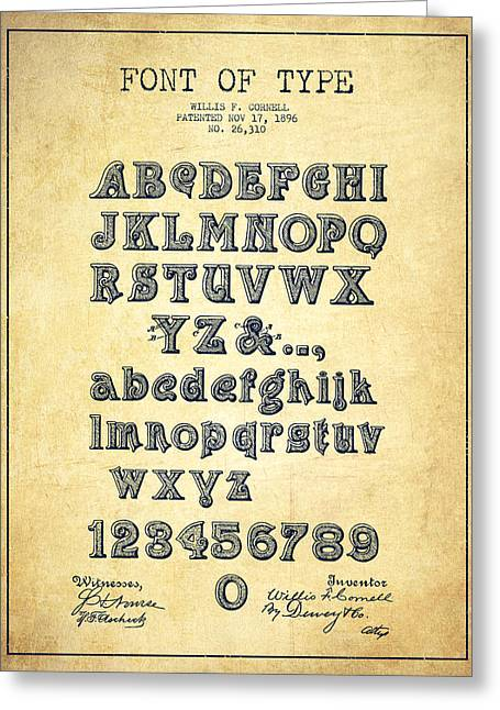 Typeface Greeting Cards - Font of  Type Patent Drawing from 1896 - Vintage Greeting Card by Aged Pixel