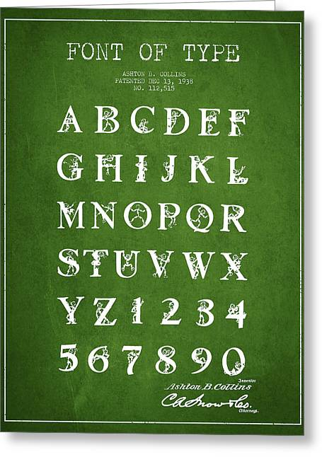 Typeface Greeting Cards - Font Patent Drawing from 1938 - Green Greeting Card by Aged Pixel