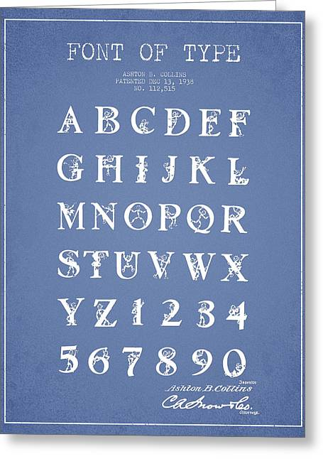 Typeface Greeting Cards - Font Patent Drawing from 1938 - Light Blue Greeting Card by Aged Pixel