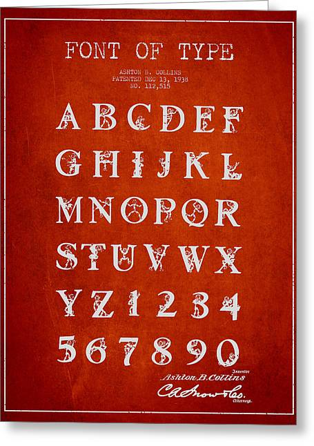 Typeface Greeting Cards - Font Patent Drawing from 1938 - Red Greeting Card by Aged Pixel