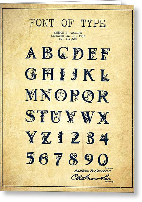 Typeface Greeting Cards - Font Patent Drawing from 1938 - Vintage Greeting Card by Aged Pixel