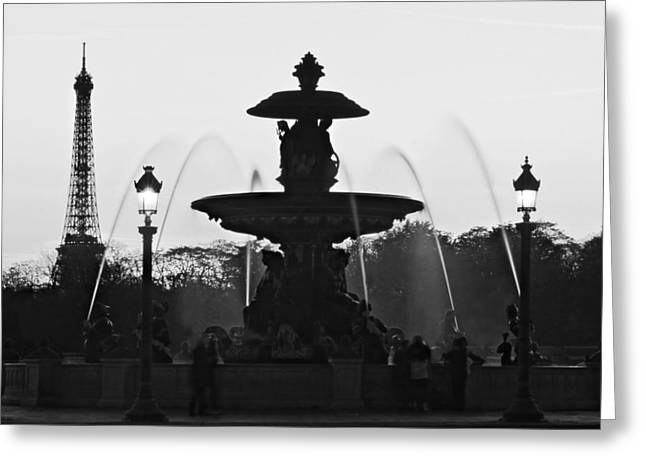 Fontain Greeting Cards - Fontaine de la Concorde Silhouette - Paris Greeting Card by Barry O Carroll