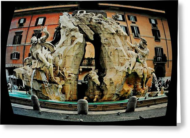 Roman Statue Greeting Cards - Fontana Dei Fiumi Greeting Card by Diana Angstadt