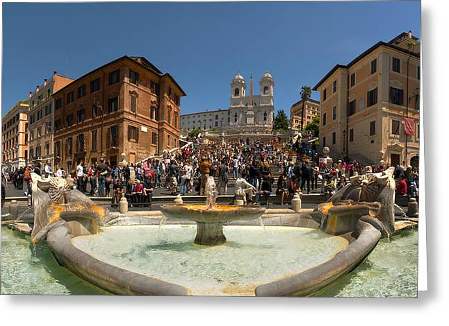 Town Square Greeting Cards - Fontana Della Barcaccia At Piazza Di Greeting Card by Panoramic Images